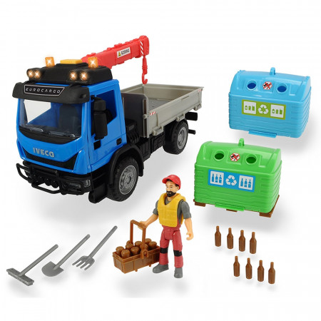Camion Dickie Toys Playlife Iveco Recycling Container Set cu figurina si accesorii