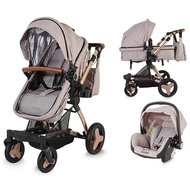 Carucior transformabil 3 in 1 Coccolle Ambra Rose Gold