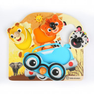 Baby Einstein - Jucarie de lemn Hape Friendly Safari Faces™ Puzzle