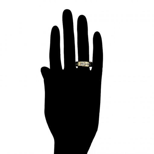 Inel tip verigheta placat cu aur 14 K si insertii rodiate si roze