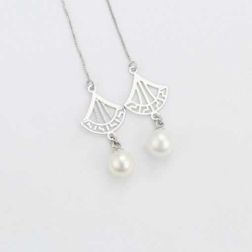 """Cercei lungi rodiati """"Hanging pearl"""""""