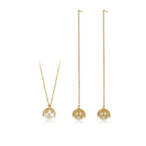"Set 14 K lantisor si cercei ""Hanging Lilly"""