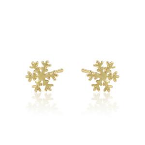"""Cercei placati cu aur 14 K """"Snowflake Stub"""""""