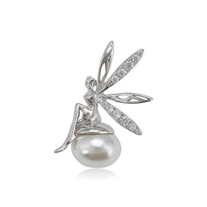 "White pendant plated with rhodium ""Tinkerbel"""