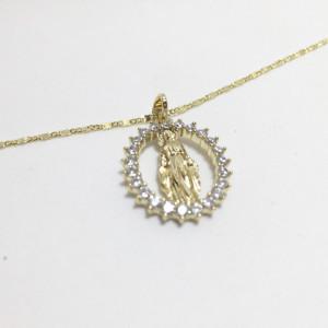 "Pandantiv placat cu aur de 14K ""Fecioara Maria"""