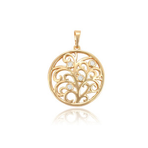 Pendant plated with 14 K gold