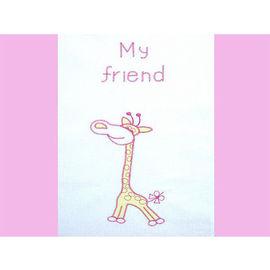 Lenjerie patut cu broderie Hubners Girafa 4 piese roz