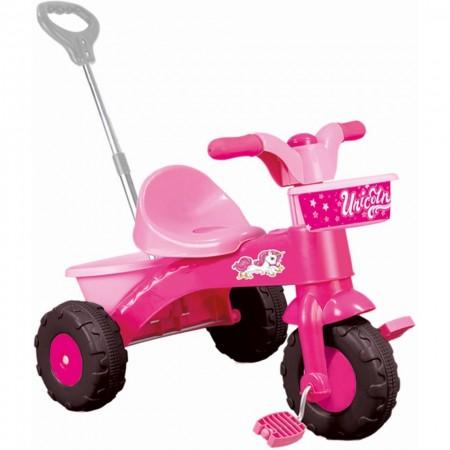 Prima mea tricicleta roz cu maner - Unicorn