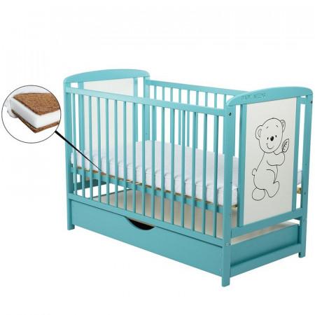 BabyNeeds - Patut din lemn Timmi 120x60 cm, cu sertar Mint + Saltea 10 cm