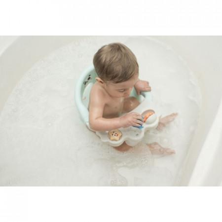 Olmitos - Scaun baie bebe cu stropitoare si jucarii mint, tavita frontala detasabila
