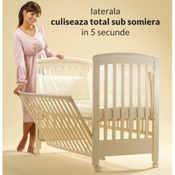 Treppy Patut co-sleeping 120x60 cu laterala culisanta si roti Dreamy Plus Alb