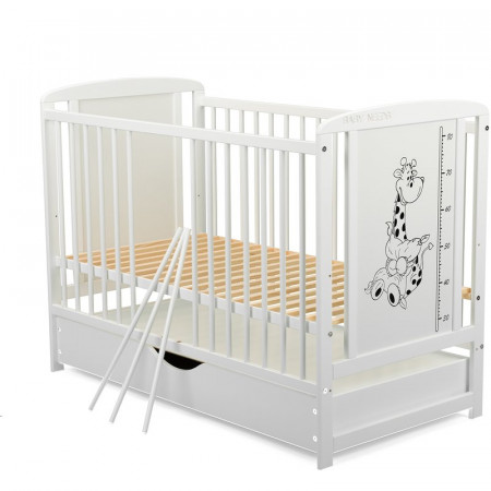 BabyNeeds - Patut din lemn Timmi Girafa 120x60 cm, cu sertar, Alb