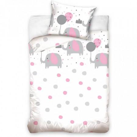 Set lenjerie pat copii Pink Elephant 100x135 + 40x60 SunCity CBX191021BABYA