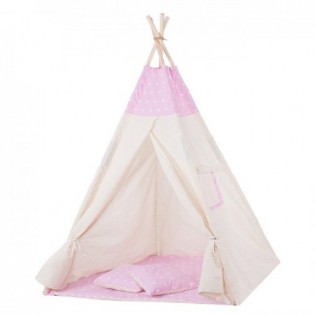 Springos - Cort copii stil indian Teepee Pink Stars XXL