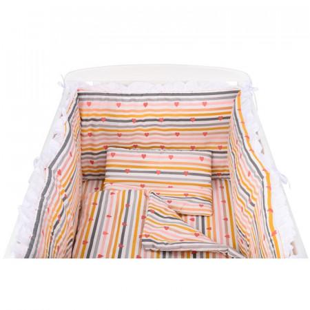 BabyNeeds - Lenjerie patut 5 piese, 120x60 cm, cu volanas, Inimioare, Dungi multicolore