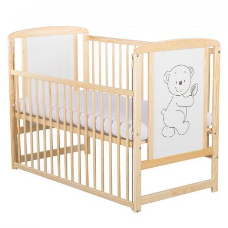 BabyNeeds - Patut din lemn Timmi 120x60 cm, cu laterala culisanta, Natur