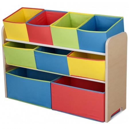 Organizator jucarii cu cadru din lemn Deluxe Multicolor