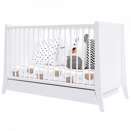 Patut copii din lemn Hubners Cosmo 120x60 cm alb cu sertar