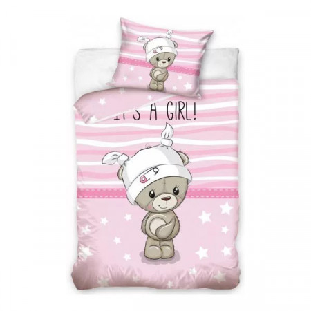 Set lenjerie pat copii Bear Girl 100x135 + 40x60 SunCity CBX191003
