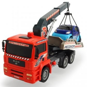 Camion de tractare Dickie Toys MAN Air Pump Crane Truck cu 1 masinuta