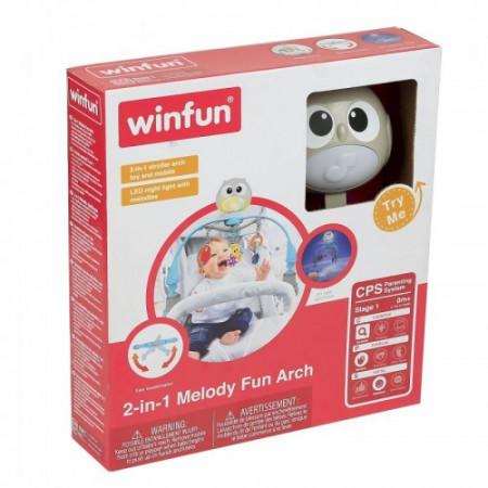 Winfun - Arcada muzicala pentru carucior sau patut Owl, cu lumini si carusel