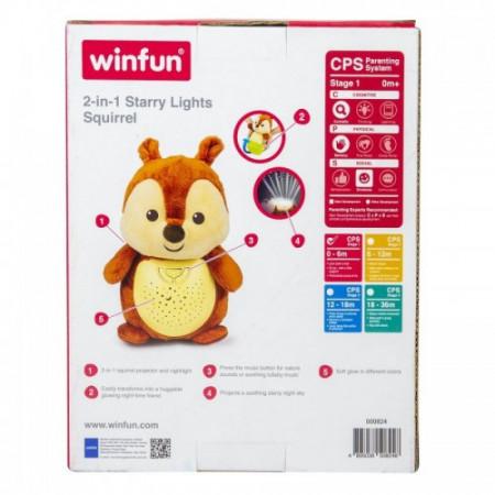 Winfun - Lampa de veghe muzicala cu proiector multicolor Squirrel