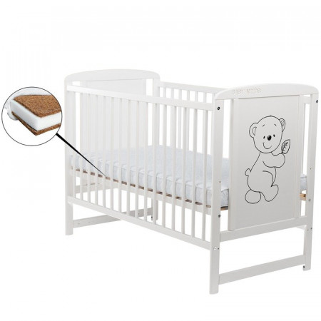 BabyNeeds - Patut din lemn Timmi 120x60 cm, Alb + Saltea 10 cm