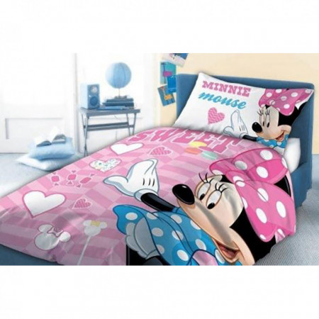 Set lenjerie pat copii Minnie Sweet 100x135 + 40x60 SunCity FRA541843