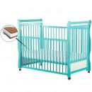 BabyNeeds - Patut din lemn Jas 120x60 cm cu laterala culisanta Mint + Saltea 10 cm