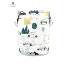 MimiNu - Cos rotund pentru depozitare jucarii, 35x50 cm, Childrens Journey Grey