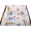 BabyNeeds - Lenjerie patut 5 piese 120x60 cm, Calatorie pe mare, Alb cu albastru