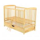 BabyNeeds - Patut din lemn Ola 120x60 cm, cu sertar, Natur + Saltea 10 cm