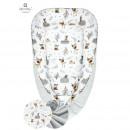 MimiNu - Cosulet bebelus pentru dormit, Baby Cocoon 90x50 cm, Forest Friends Grey/Beige