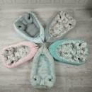 MimiNu - Cosulet bebelus pentru dormit, Baby Cocoon 90x50 cm, Pink/Peonies pink