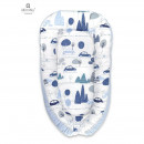 MimiNu - Cosulet bebelus pentru dormit, Baby Nest 105x66 cm, Velvet Childrens Journey Blue