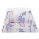 BabyNeeds - Lenjerie patut 3 piese 120x60 cm, Elefantei, Albastru-Roz
