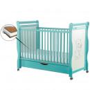 BabyNeeds - Patut din lemn Jas Ursulet 120x60 cm, cu sertar, Mint + Saltea 12 cm