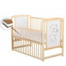 BabyNeeds - Patut din lemn Timmi 120x60 cm, cu laterala culisanta, Natur + Saltea 8 cm