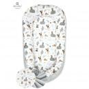 MimiNu - Cosulet bebelus pentru dormit, Baby Nest 105x66 cm, Forest Friends Grey/Beige