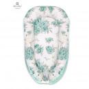 MimiNu - Cosulet bebelus pentru dormit, Baby Nest 105x66 cm, Velvet Peonie Mint
