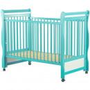 BabyNeeds - Patut din lemn Jas 120x60 cm, cu laterala culisanta, Mint