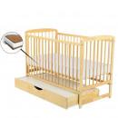 BabyNeeds - Patut din lemn Ola 120x60 cm, cu sertar, Natur + Saltea 12 cm