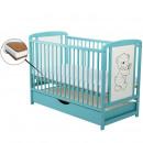 BabyNeeds - Patut din lemn Timmi 120x60 cm, cu sertar, Mint + Saltea 8 cm