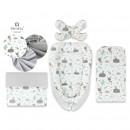 MimiNu - Set 4 in 1 Cosulet bebelus Baby Cocoon 90x50 cm, 1 perna, 1 paturica si o saltea cu doua fete, Forest friends Grey/Mint