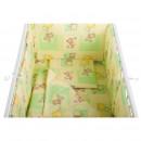 BabyNeeds - Lenjerie patut 5 piese 120x60 cm, Ursuleti colorati, Verde