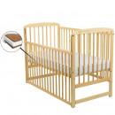 BabyNeeds - Patut din lemn Ola 120x60 cm, cu laterala culisanta, Natur + Saltea 12 cm