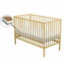 BabyNeeds - Patut din lemn Maks 120x60 cm, Natur + Saltea 8 cm