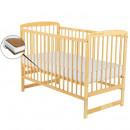 BabyNeeds - Patut din lemn Ola 120x60 cm, Natur + Saltea 12 cm