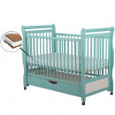 BabyNeeds - Patut din lemn Jas 120x60 cm, cu sertar, Mint + Saltea 8 cm