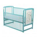 BabyNeeds - Patut din lemn Timmi 120x60 cm, cu laterala culisanta, Mint + Saltea 10 cm